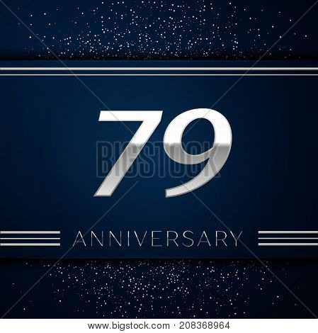 Realistic Seventy nine Years Anniversary Celebration Logotype. Silver numbers and silver confetti on blue background. Colorful Vector template elements for your birthday party
