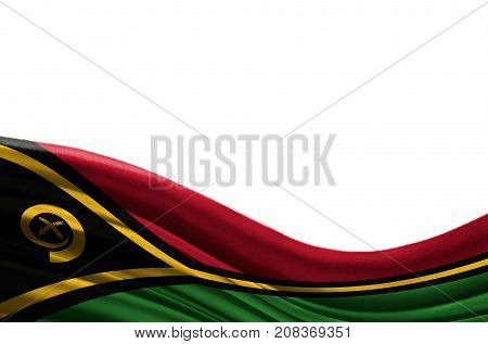 Grunge colorful flag Vanuatu with copyspace for your text or images,isolated on white background. Close up, fluttering downwind.