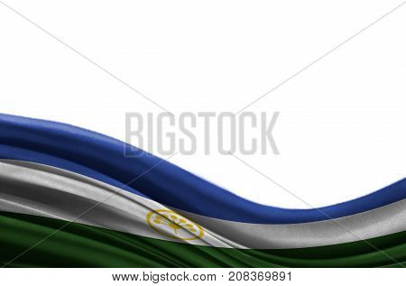 Grunge colorful flag Bashkortostan with copyspace for your text or images,isolated on white background. Close up, fluttering downwind.