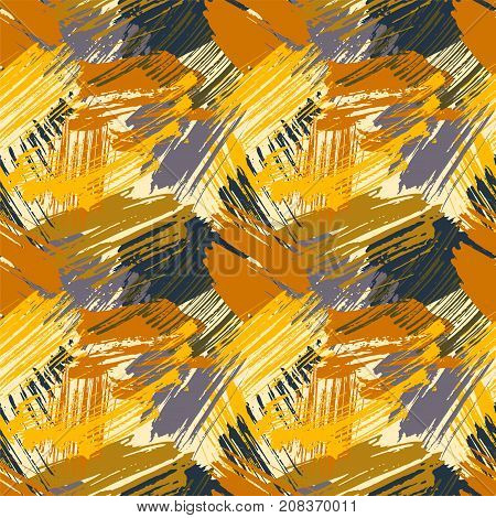 Seamless pattern with abstract watercolor stains, paint brushes freehand strokes