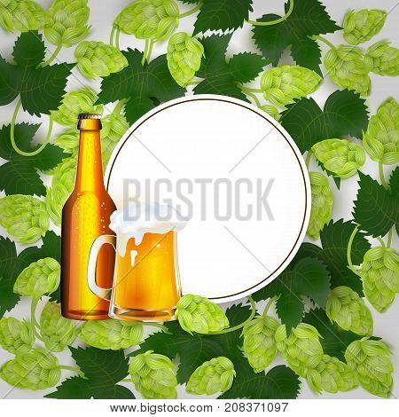 vector poster, banner with full mug and bottle of golden lager beer with thick white foam in hop leaves circle template. Ready for your design mockup. Isolated illustration on a white background.