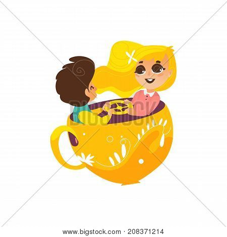 vector flat children in amusement park concept. Boy and cute girl kids having fun sitting in rotating chair cup or playing rocking cups. Isolated illustration on a white background.
