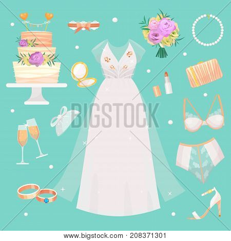 Wedding fashion bride dress accessories style bridal shower sketch decor set and cartoon vector silhouette portrait swirling borders ribbon icons. Invitation design look female accessory template kit.