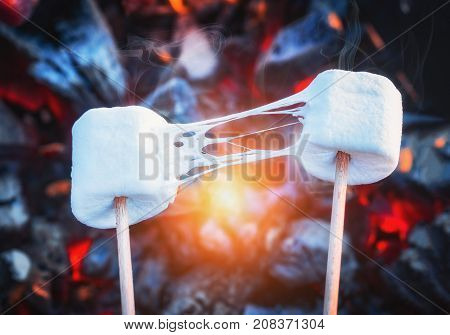 Two stretchy marshmallows roasting over fire flames. Marshmallow on skewers roasted on charcoals.