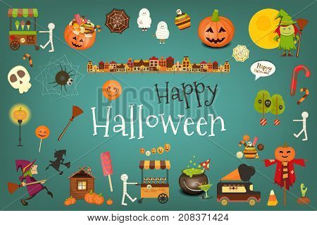 Happy Halloween Card with Cute Characters and Creatures. Sweet Halloween on Blue Background. Vector Illustration.