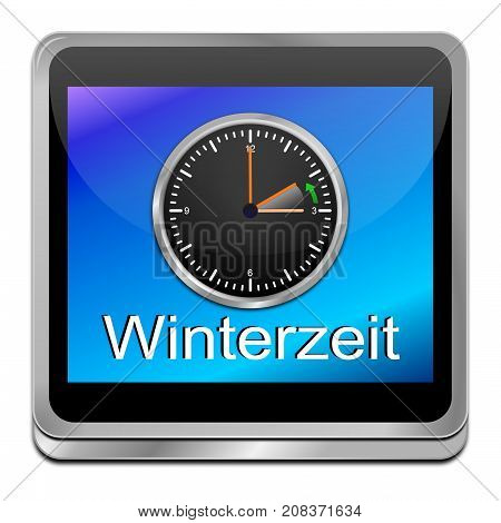 clock showing end of daylight saving time on blue button - 3D illustration in german
