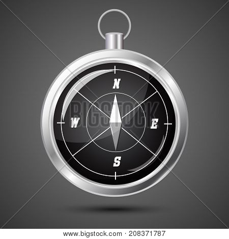 Glossy Stylish Compass with windrose. Vector Illustration on gray background with soft shadow