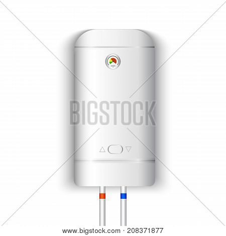 White gas boiler electric water heater with controller and indicator of the heating water on white background. Vector illustration
