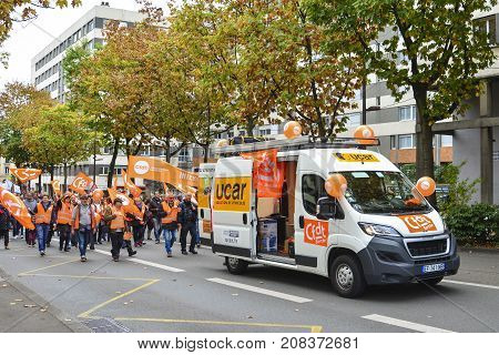 LE MANS FRANCE - OCTOBER 10 2017: People demonstrate during a strike against new laws of healf care system of a president of France Emmanuel Macron