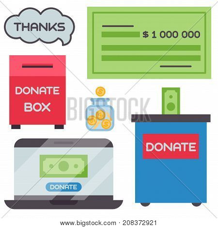 Donate money box set symbols help philanthropy donation contribution charity philanthropy humanity support vector. Contribute design sign give money contribution giving.