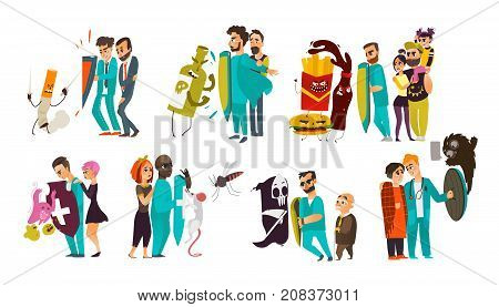 Big set of doctors who fight diseases, hold a shield to protect patients from problems, flat cartoon vector illustration isolated on white background. Doctor fight, physical and psychiatric protection