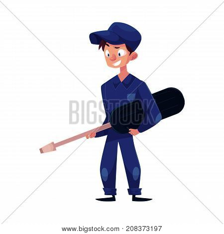 Full length portrait of auto mechanic holding a giant screwdriver, cartoon vector illustration isolated on white background. Cartoon auto mechanic character holding a giant screwdriver