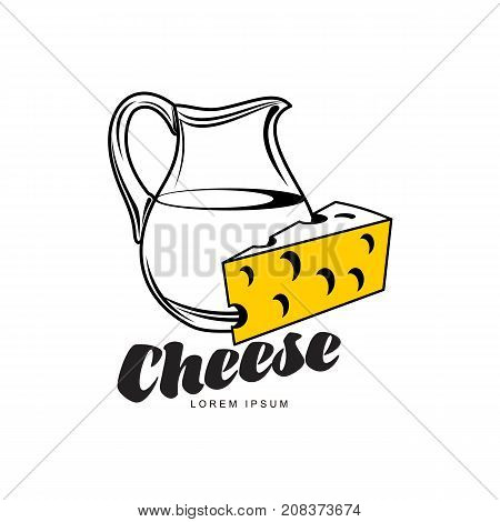 Swiss, holland maasdam yellow piece of porous cheese with holes and milk jug brand, logo product design icon pictrogram silhouette. Isolated flat illustration on a white background.