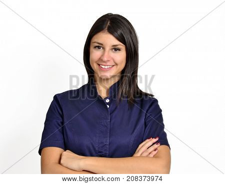 Latin nurse medic young woman portrait on white background.