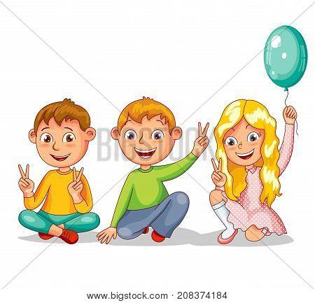Three happy children, best friends. Vector illustration in cartoon style
