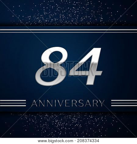 Realistic Eighty four Years Anniversary Celebration Logotype. Silver numbers and silver confetti on blue background. Colorful Vector template elements for your birthday party