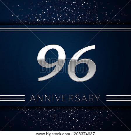 Realistic Ninety six Years Anniversary Celebration Logotype. Silver numbers and silver confetti on blue background. Colorful Vector template elements for your birthday party