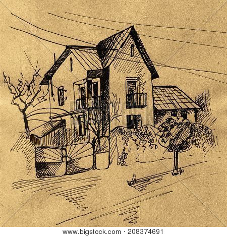 Ink illustration with mennonites old house on craft paper. Hand drawn ink graphic with trees, house.