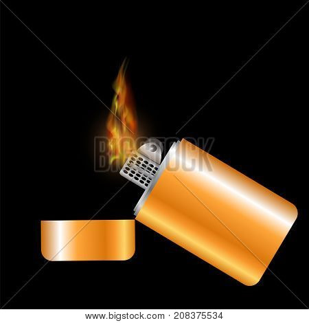 Burning Gold Lighter Isolated on Black Background