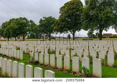 LONGUEVAL, FRANCE - SEPTEMBER 14, 2012: The Delville Wood WWI cemetery near Longueval France