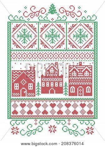 Christmas Scandinavian, Nordic style winter stitching, pattern including snowflake, heart, winter wonderland village, gingerbread houses, church, Christmas tree, snow in red, green in rectangle frame
