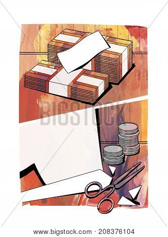 Bundles of notes cut paper columns of coins and scissors on a textured watercolor background in the form of comic strip windows. Raster illustration