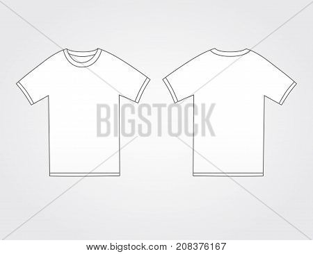 T-shirt active sport template. Front and back side views of blank white t-shirt. Vector illustration