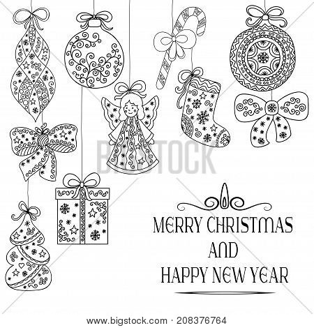 Christmas pattern. Christmas tree decorations - angel, ball, ribbon, gift, Christmas tree. Lettering