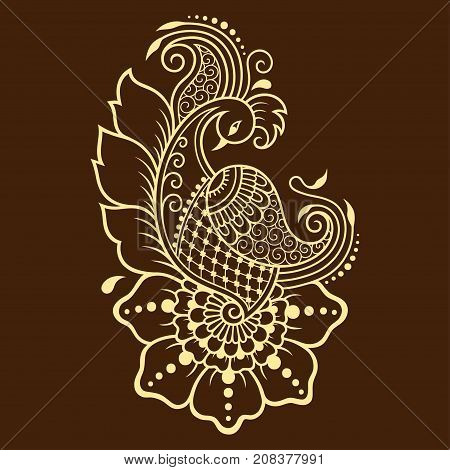 Henna Tattoo Flower And Bird Template. Peacock In Nehndi Style. Set Of Ornamental Patterns In The Or
