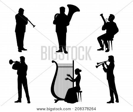 Vector illustration of silhouettes of orchestra musicians