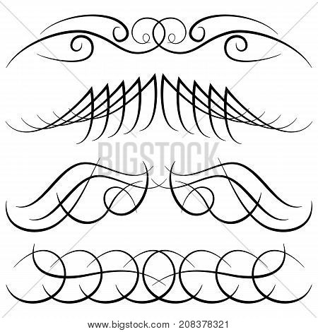 Set of vintage decorative curls swirls monograms and calligraphic borders. Line drawing design elements in black color on white background. Vector illustration.