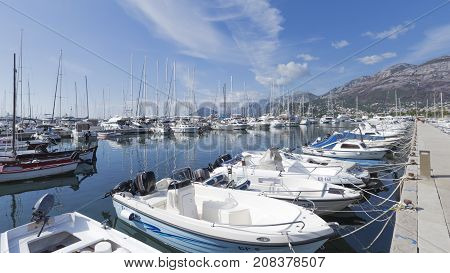 Bar - September 30 2017: Many yachts and boats in the port city Bar and high mountains away September 30 2017 Bar Montenegro