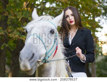 Young brunette beauty jokey girl riding horse in the green park