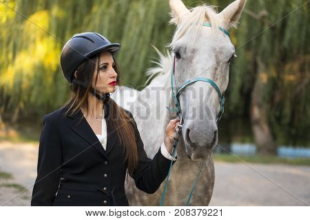 Young brunette beauty jokey girl leading horse in the park