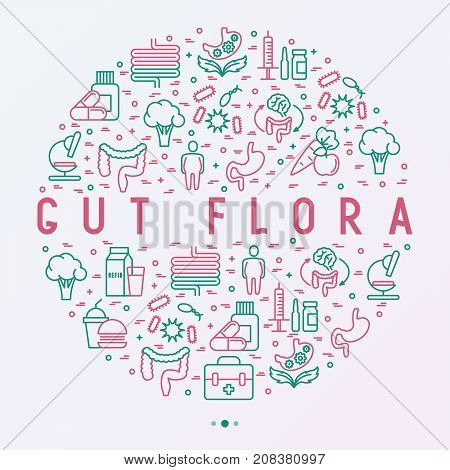 Gut flora concept in circle with thin line icons: gut, bacteria, obesity, stomach, infection, depression, medicine. Vector illustration for medical survey or report.
