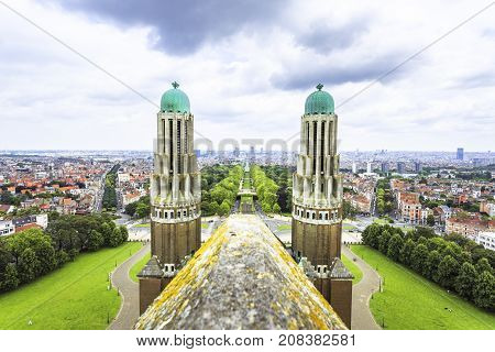 BRUSSELS BELGIUM - JUNE 19 2016: View from the rooftop of the Basilica of The Sacred Heart featuring the Elisabeth Park in the middle in a cloudy day. Brussels Belgium.
