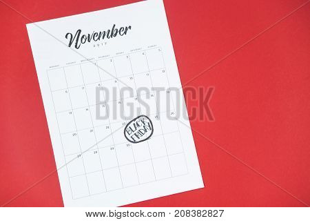 black Friday 2017 on a calendar or in a glider for a month