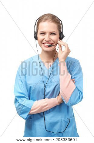 Young female receptionist wearing headset, isolated on white