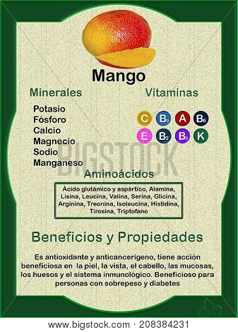 Ficha informativa sobre la composición nutricional (vitaminas minerales y aminoácidos) de mago y sus beneficios para la salud