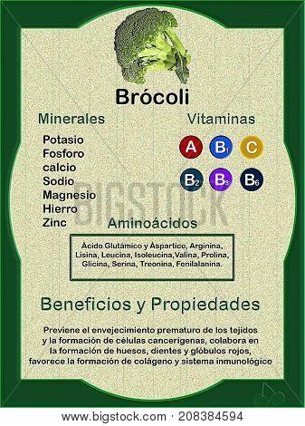Hoja de datos sobre la composición nutricional (vitaminas minerales y aminoácidos) del brócoli y sus beneficios y propiedades