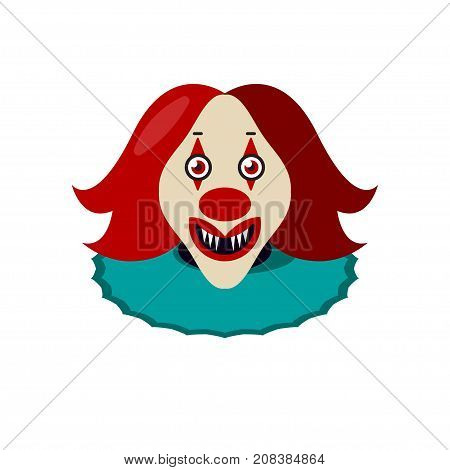 Horrible scary creepy ugly face of clown in red wig isolated on white background. Halloween mask. Coulrophobia. - Stock vector
