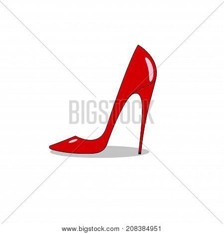 Femail red sexy lacquered leather shoe with high heel isolated on white background. - Stock vector