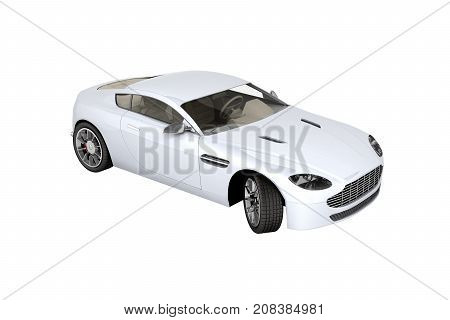 Sport Car Vehicle Isolated On White Background 3D Without Shadow