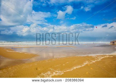 Mediterranean Sea rages. Sea beach in Tel Aviv in stormy January day