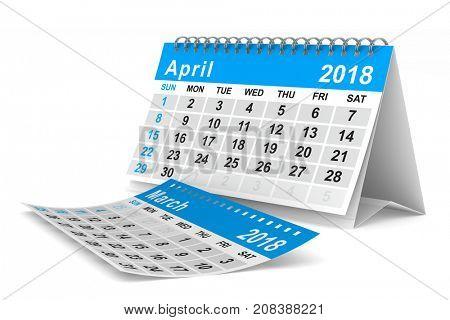 2018 year calendar. April. Isolated 3D illustration