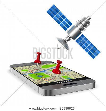Navigation system. Isolated 3D illustration