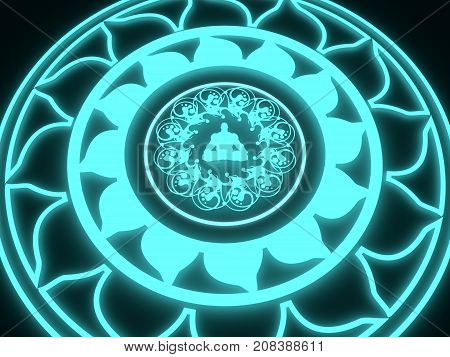Decorative design element. Geometric ornament with neon shine material. Circular ornamental symbol. Man in lotus pose silhouette. 3D rendering