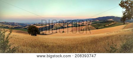 Panoramic view of countryside near San Leo city Italy
