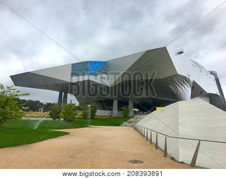 Lyon Rhone France, 1 October 2017: View on Musee des Confluences futuristic science and anthropology museum deconstructivism building at the confluence of Rhone and the Saone rivers