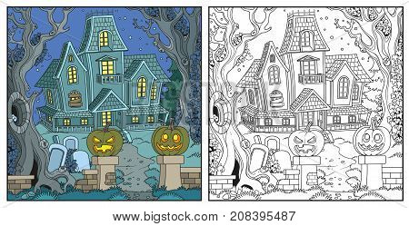 Halloween Background With Witch House Color And Outlined For Coloring Page